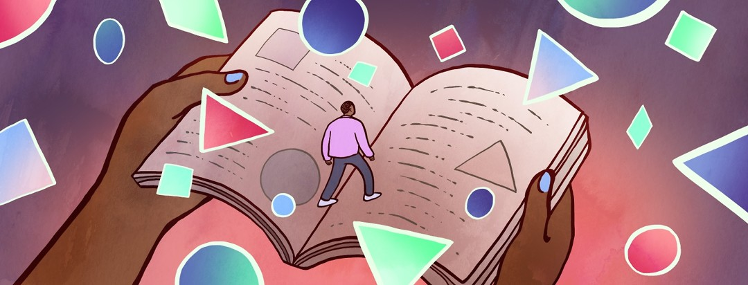 Surrounded by bright floating shapes, a man walks across a giant book with diagrams that explain the shapes.