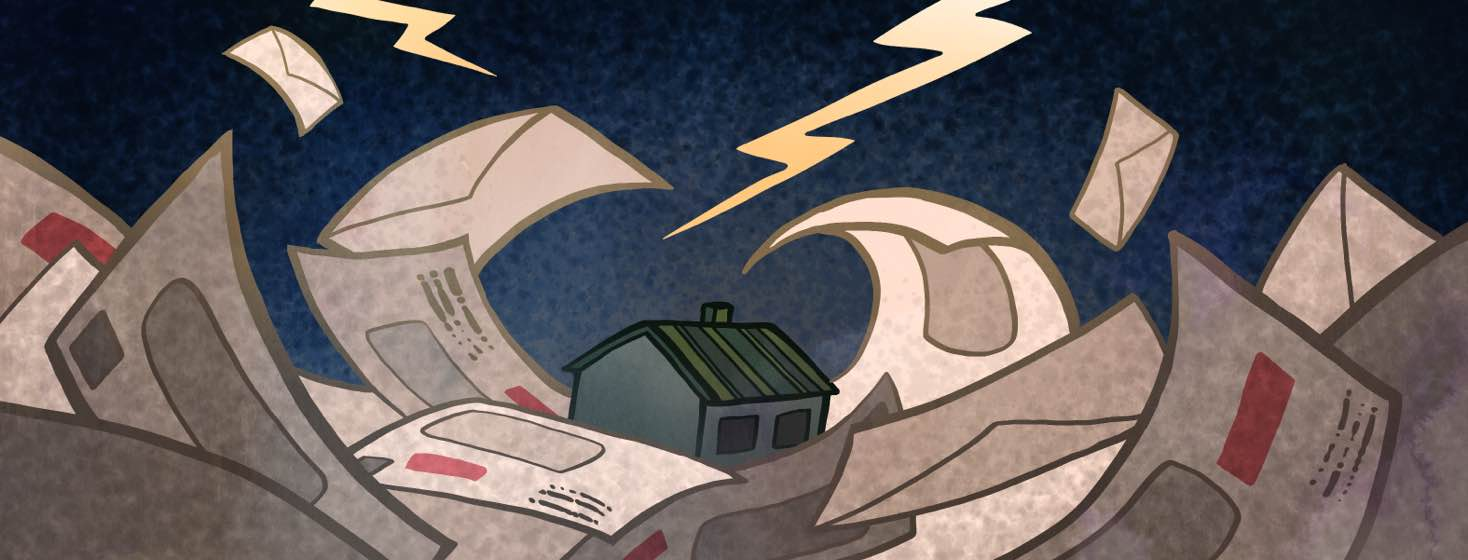 A turbulent sea of bills and letters crash over a sinking house in a dark storm.