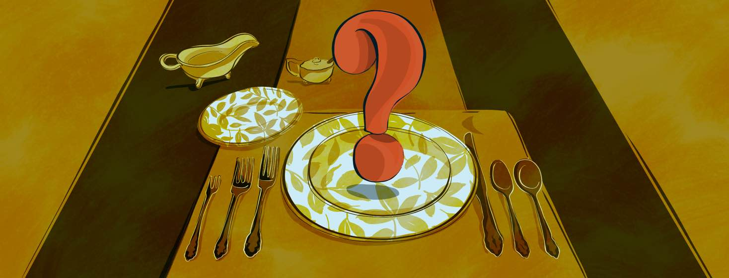 A fancy table setting with a large question mark hovering over the dinner plate.