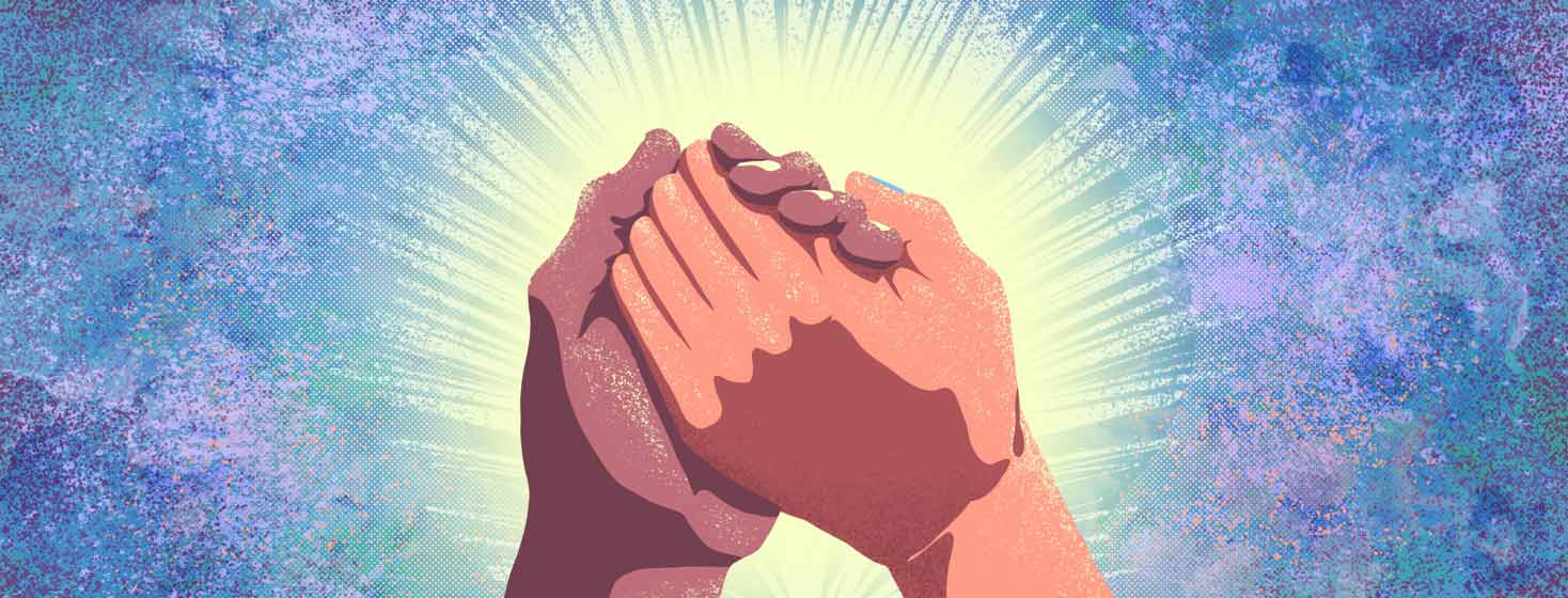 Shining hands clasped together in hope
