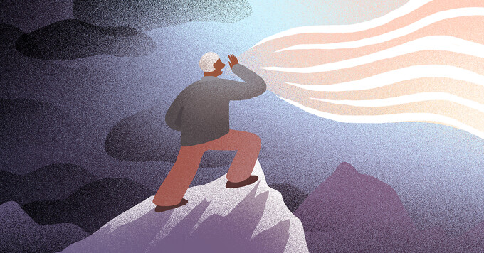A man shouts from the mountaintops as dark clouds disappear into the light.