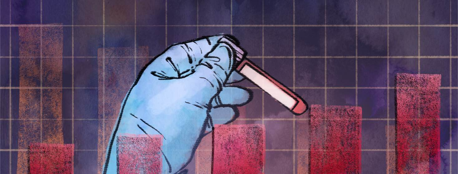 A person's gloved hand holds a blood sample used for PSA testing in front of a bar graph.