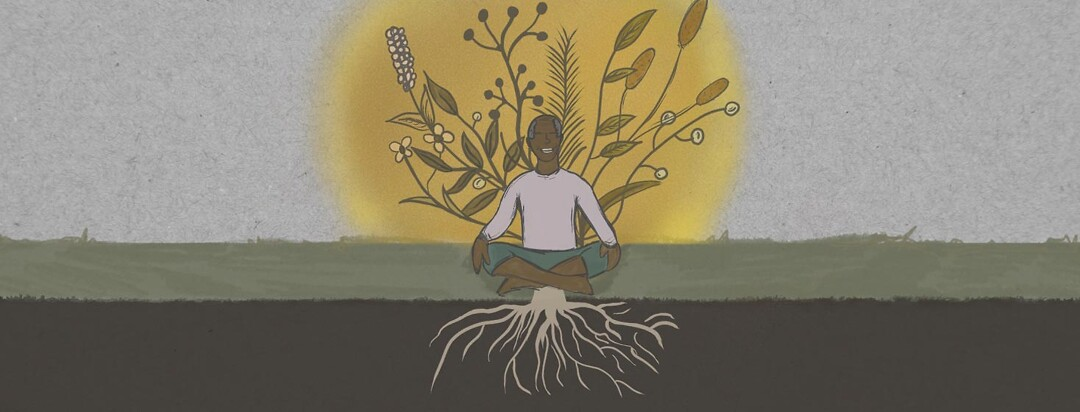 Elder male Person of color sitting in a happy meditative state rooted in the ground, with foliage rising above him in a yellow hue