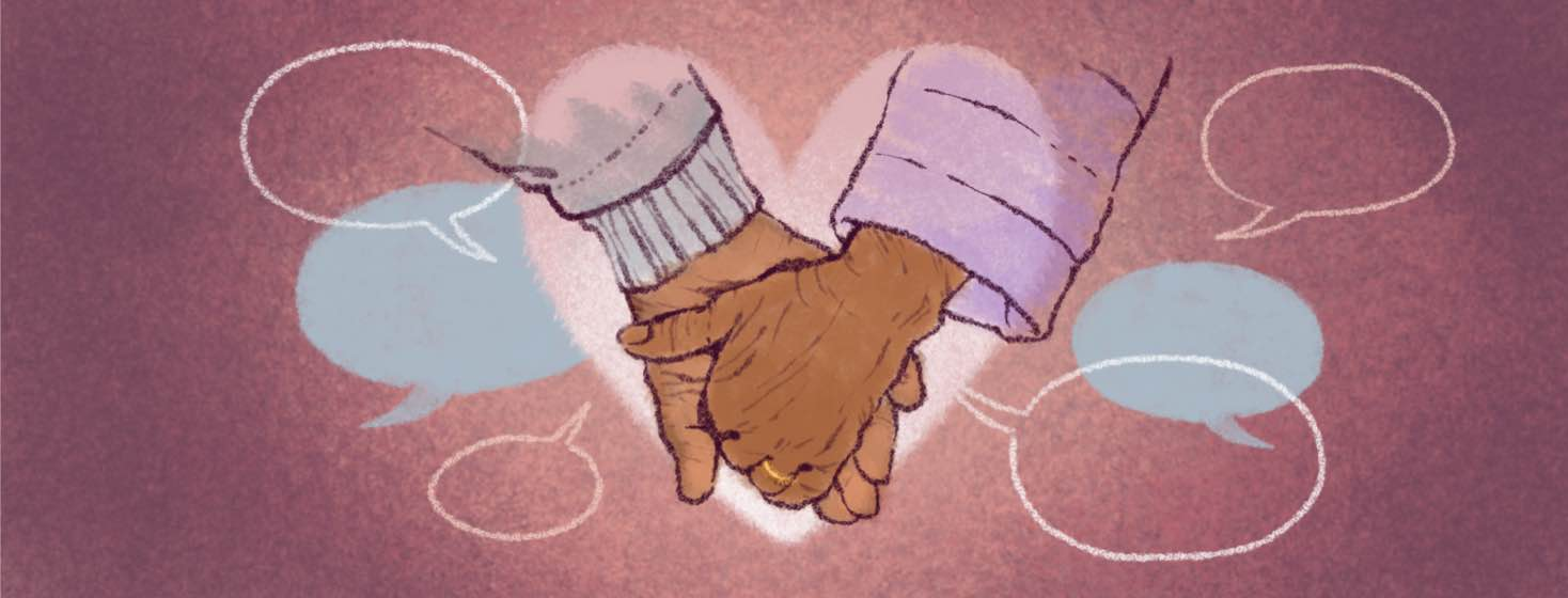 Two people hold hands inside a heart shape surrounded by speech bubbles.