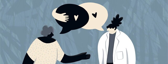 As a doctor and patient talk to each other, their speech bubbles also embrace each other with heart symbols.