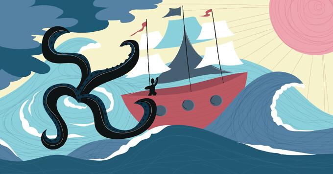A kraken attacking a ship sailing on a stormy ocean.