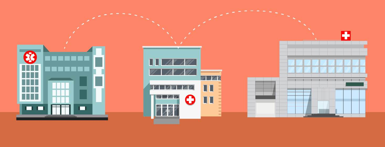 A dotted line jumps between healthcare centers.