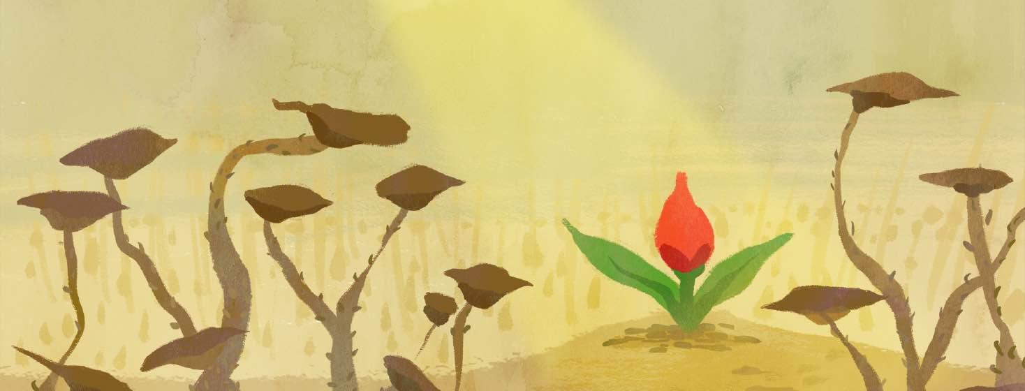 A flower begins to bloom amid a dead garden.