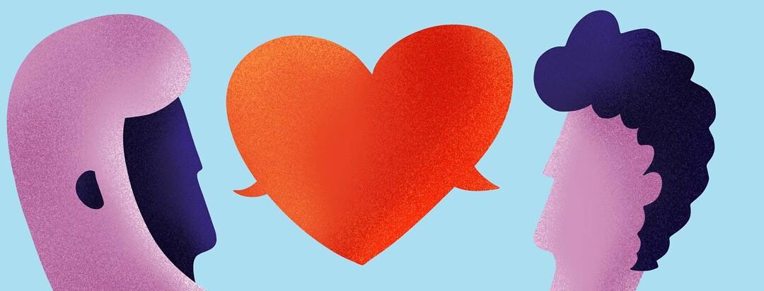 A heart-shaped speech bubble between a man and a woman.