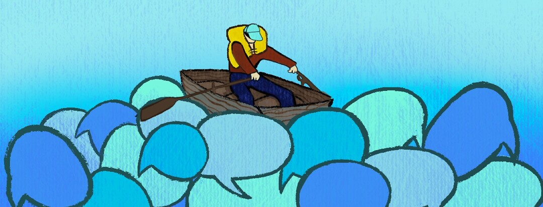A man rowing over a sea of word bubbles in his boat