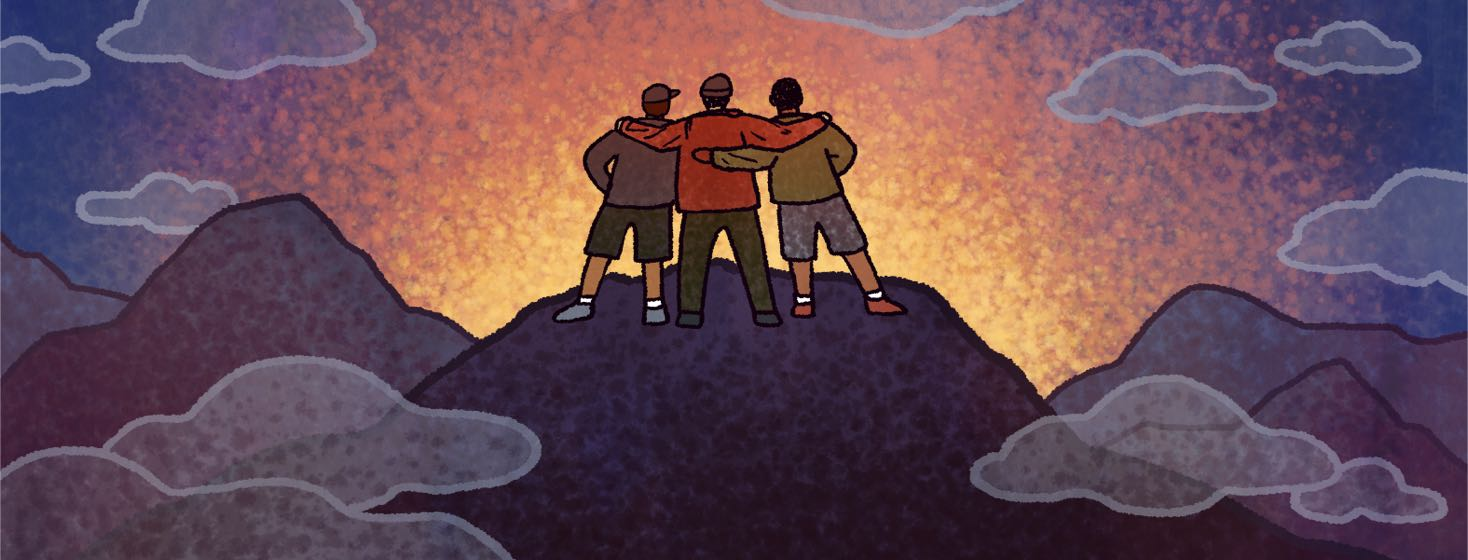 Three men stand at the top of a mountain facing the sunrise.